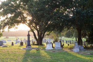 Cemetery with headstones