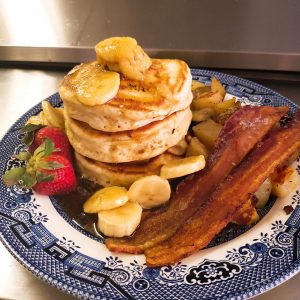 Banana pancakes with bacon